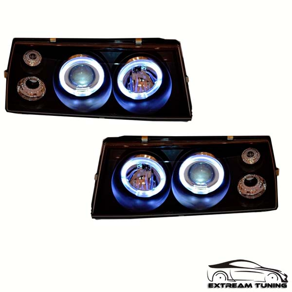 Фары тюнинг ВАЗ 2108-099 диод хром черный фон со светодиодным ободком